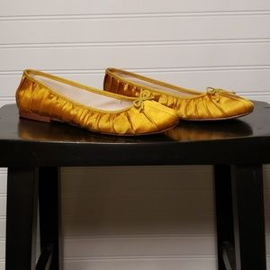 Ann Taylor Yellow Satin Flats